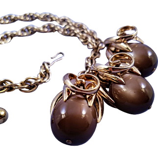 1950s Napier 'Cumquat' Necklace in Goldtone with Brown Moonglow Drops - Book Reference