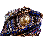 Wendy Gell 1980s 'Golden Eye' Cuff Wristy Bracelet - Rare