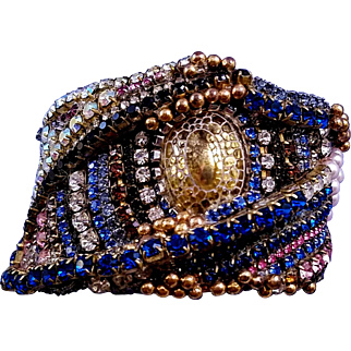 Wendy Gell 1980s 'Golden Eye' Cuff Wristy Bracelet - Rare