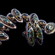 Dazzling Vintage Bracelet Set with Metallic Gold Drizzled Elliptical Cabochons