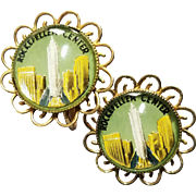 Coro Vintage Rockefeller Center New York Kitschy Picture Souvenir Earrings