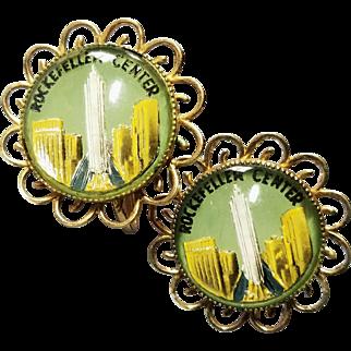 Coro Vintage Rockefeller Center New York Kitschy Picture Souvenir Earrings
