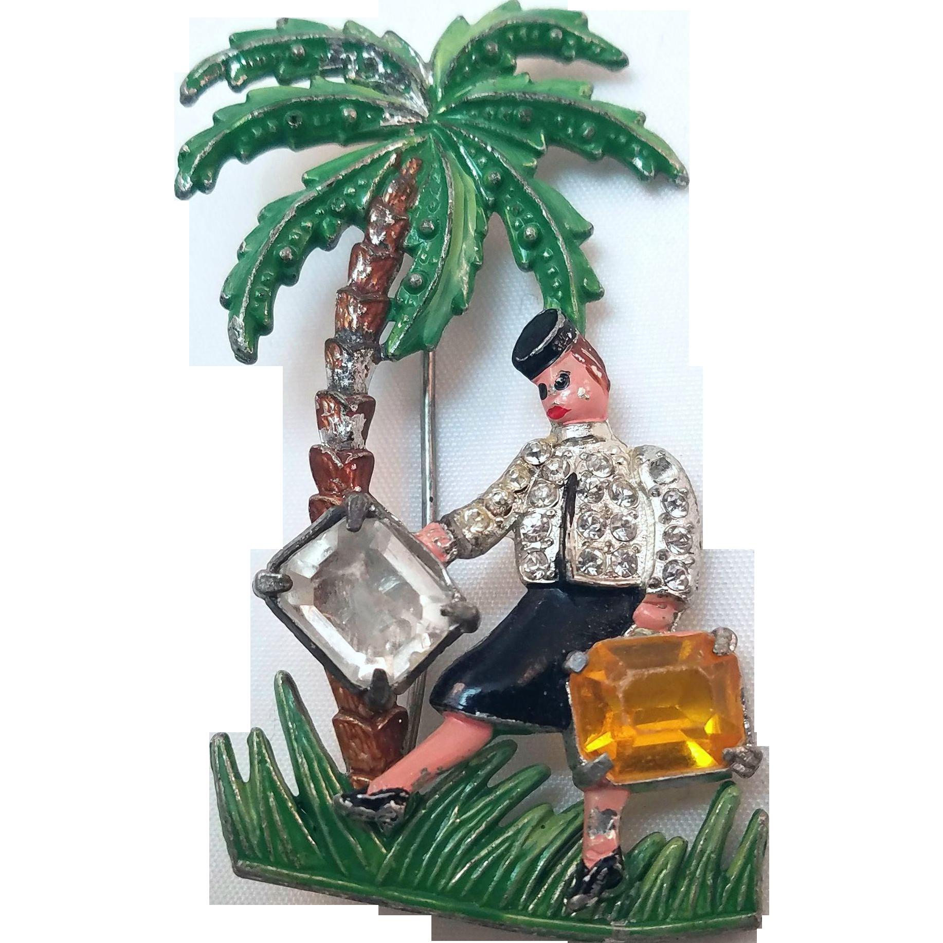 Fun Vintage Palm Tree and Female Tourist Pin 1940s