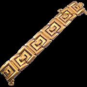 Monet Textured Goldtone Link Bracelet - Geometric Design