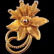 Hobe Curlique Goldtone Flower Brooch with Mesh Flowers
