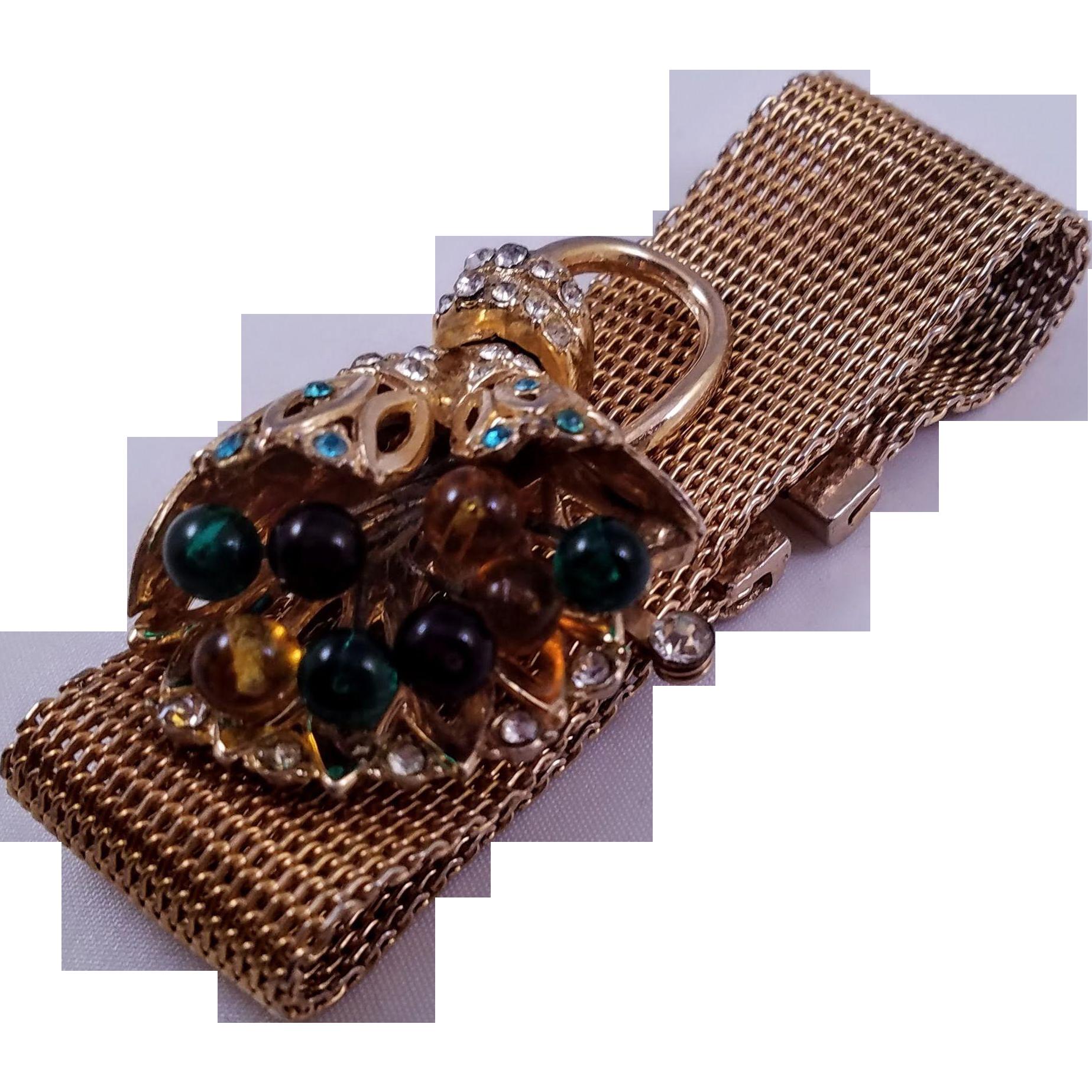 Vintage 1930s Mesh Bracelet with Retro Floral Embellishment