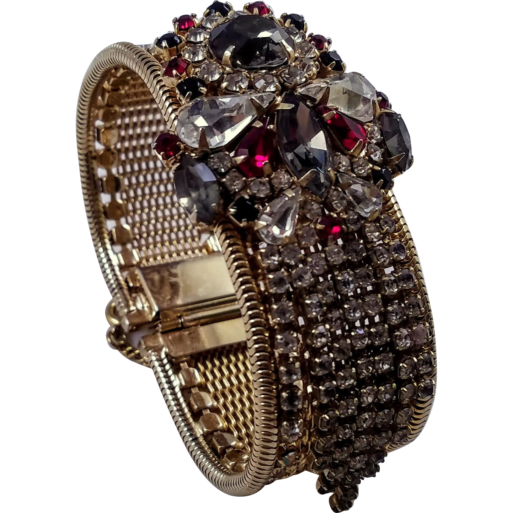 Unsigned Hobe Rhinestone and Mesh Bracelet with Rhinestone Fringe Embellishment
