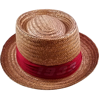 Vintage Men's 1939 Harvard Straw Hat - Made in Italy