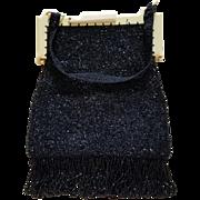 Rare Black Densely Beaded Fringed Flapper Evening Bag Celluloid Frame