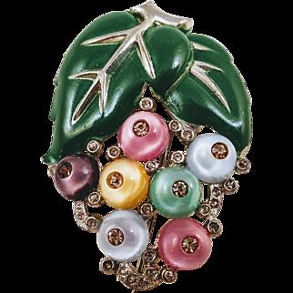 Vintage 1930s Pastel Shoe Button and Enameled Leaf Brooch