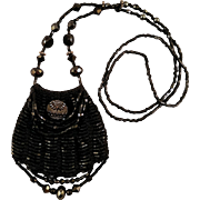 Vintage Knit Beaded Coin Purse Necklace Black Glittery Beading