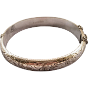 British Sterling Chased Hinged Bangle Bracelet with Ornate Carvings