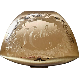 Vintage Elgin American 'Mother' Engraved Powder Compact
