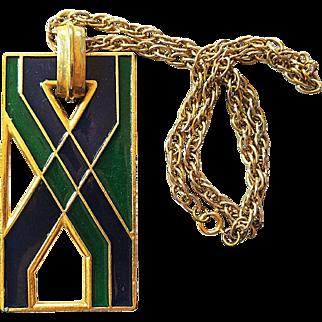 Vintage 1970s Florenza Mod Pendant Necklace Enameled Green and Blue