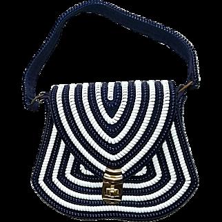 Vintage 'Telephone Cord' Purse Handbag 1950s Blue and White