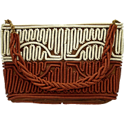 Vintage 'Telephone Cord' Purse Handbag 1950s Brown and Cream
