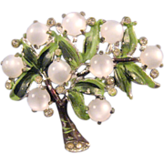 Enameled Pot Metal Tree Pin with Moonglow White Fruit