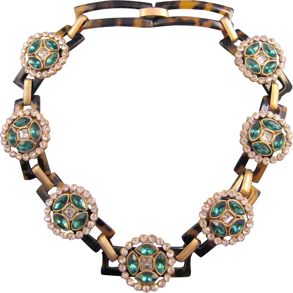 Faux Tortoiseshell and Rhinestone Link Necklace - 1960s