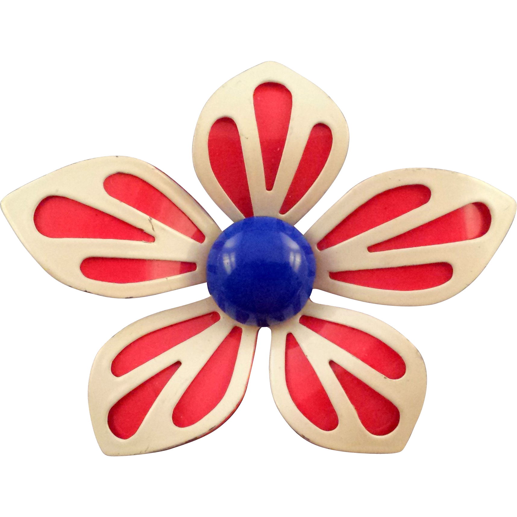 Red White and Blue 1960s Cut - Out Petal Enameled Flower Brooch