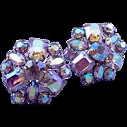 Fiery Vintage Aurora Borealis Hexagonal Rhinestone Clip Earrings
