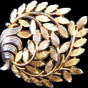 Trifari Goldtone and Silvertone Swirled Branch Brooch