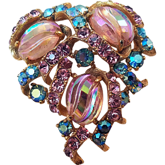 Vintage Schiaparelli Shimmering Rhinestone Pin with Aurora Borealis Molded Cabochons