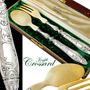 Crossard: French Sterling Silver 2pc Salad Serving Implement Set