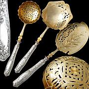 French Sterling Silver 3pc Dessert Set - Art Nouveau Pattern