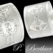 "BERTHIER - Antique French Sterling Silver 2"" Napkin Ring - Grape & Grape Vine pattern"