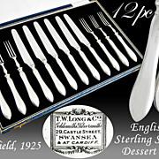 Boxed Art Deco English Sterling Silver 12pc Dessert Set - John Sanderson & Son Ltd - Sheffield, 1925