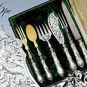 Boxed French Sterling Silver 6pc  Meat-, Fish-, and Salad Serving Set