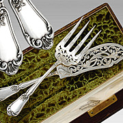 Henin: Antique Boxed French Sterling Silver 2pc Fish Serving Set