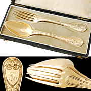 Boxed French Sterling Silver & Vermeil Fork and Spoon Set - 1819-1838