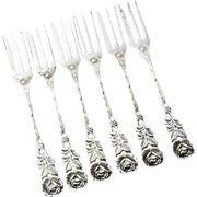 Set of Six German .800 Silver Cake Forks with Rose decoration