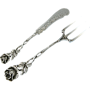 Vintage German .835 Silver Serving Fork & Butter Knife - Hildesheimer Rose