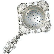Ornate Dutch .833 Solid Silver Tea Strainer