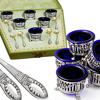 Boxed Antique German .800 Silver and Cobalt Glass 6 Open Salt Cellars & Spoons