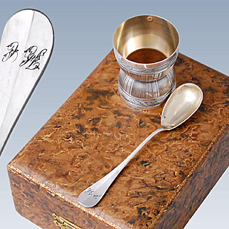 Boxed French Sterling Silver 2pc Breakfast Set