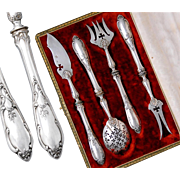 Boxed Antique French Sterling Silver 4pc Hors d'Oeuvre Set - Rococo style