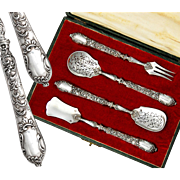 Boxed French Sterling Silver 4pc Hors d'Oeuvre Serving Set - Rococo style