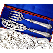 Boxed French Sterling Silver 2pc Fish Serving Set