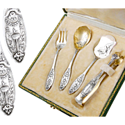 Boxed French Sterling Silver and Vermeil 4pc Hors d'Oeuvre Set - Empire style