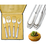 Boxed Art Deco French Sterling Silver 4pc Hors d'Oeuvre Set
