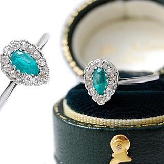 Diamond & Emerald 18ct White Gold Ring