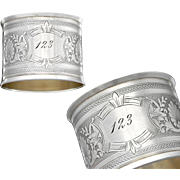 French Sterling Silver Napkin Ring - Guilloche decoration