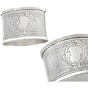 Guilloche French Sterling Silver Napkin Ring