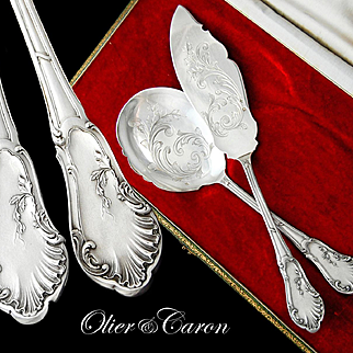 Boxed French Sterling Silver 2pc Ice Cream Serving Set