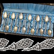 Boxed German .800 Silver & Vermeil 12pc Coffee or Tea Spoons with Cherubs