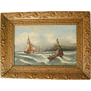 French Oil Painting of Fishing Boats and Sea on Canvas