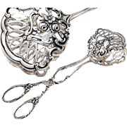 Gorgeous German .800 Silver Repousse Cake Server Tongs